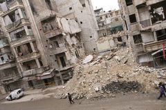 Het vernietigde ziekenhuis die Aleppo bouwen. Royalty-vrije Stock Foto's