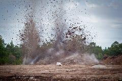 Het vernietigen van kalksteen in een quarry.GN royalty-vrije stock afbeelding