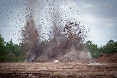 Het vernietigen van kalksteen in een quarry.gn  stock foto