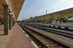 Het vernieuwen van oude post van spoorweg, Ruse, Bulgarije Stock Afbeeldingen