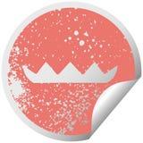 het verontruste cirkelsymbool van de schilsticker vult lilly op vector illustratie