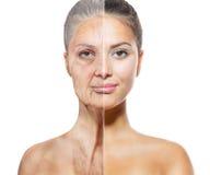 Het verouderen en Skincare-Concept Stock Foto's