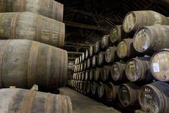 Het verouderen van de wijn van de Haven in kelder Stock Foto's