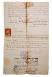 Het verouderen van manuscript op Slavische taal stock fotografie