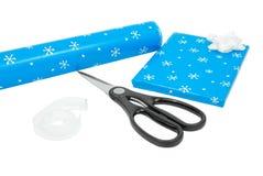 Het verpakken van Kerstmis stelt voor Stock Afbeeldingen