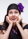Het verraste en Verbaasde Jonge Vrouw Kijken Stock Afbeelding