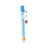 Het verraste grappige karakter van de beeldverhaal blauwe pen, vermenselijkte pen met grappige gezichts vectorillustratie Stock Afbeelding