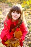 Het verraste meisje met esdoornbladeren en draagt stock afbeelding