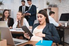 Het verraste zwangere meisje bekijkt tablet in bureau Zwangerschap op het werk Zwangere vrouw bij haar bureau stock fotografie