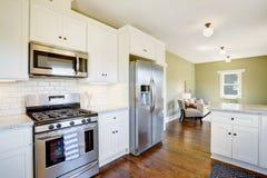 Het vers bijgewerkte witte en groene binnenland van de keukenruimte Stock Afbeeldingen