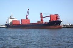 Het verschepen en handelstraffice bij de Haven van de ingang van Galveston Texas aan de Golf van Mexico stock fotografie