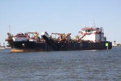 Het verschepen en handelstraffice bij de Haven van de ingang van Galveston Texas aan de Golf van Mexico royalty-vrije stock foto