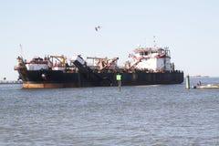 Het verschepen en handelstraffice bij de Haven van de ingang van Galveston Texas aan de Golf van Mexico stock foto's