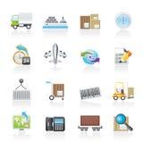 Het verschepen en logistiekpictogrammen Stock Afbeeldingen