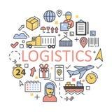 Het verschepen en Logistiekpictogrammen Geplaatst de Leveringsdienst royalty-vrije illustratie