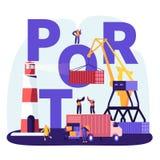 Het verschepen Havenconcept Haven Crane Loading Containers, Zeehavenarbeiders Carry Boxes van Vrachtwagen in Dokken dichtbij Vuur vector illustratie