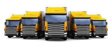 Het verschepen, logistiek en leverings bedrijfs commercieel concept: 3D geef illustratie van de rij van gele ladingsaanhangwagen  stock afbeelding