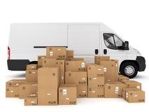 Het verschepen met vrachtwagen het 3d teruggeven Stock Foto