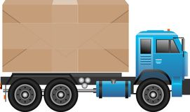 Het verschepen, vrachtwagenvervoer, doos, blauwe vrachtwagen Royalty-vrije Stock Foto