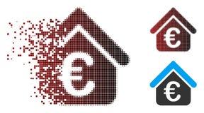 Het verscheurde Pictogram van Real Estate van de Pixel Halftone Euro Lening stock illustratie