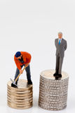Het verschil van het salaris tussen arbeiders en managers Stock Afbeelding