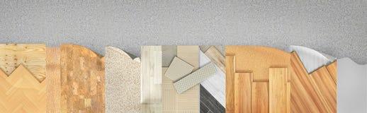 Het verschillende vloertypes met een laag bedekken Reeks stukken van verschillende vloerdeklaag royalty-vrije illustratie