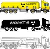 Het verschillende vriendelijke die reservoirvrachtwagens chemisch dragen, radioactief, giftig, gevaarlijke stoffen op witte achte vector illustratie