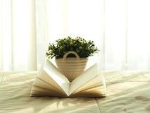 Het verse de ochtendboek en bloem op het bed, selecteren nadruk Royalty-vrije Stock Afbeeldingen