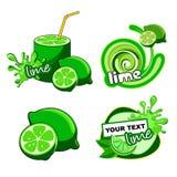 Het verse etiket van de citrusvruchtenkalk Stock Fotografie