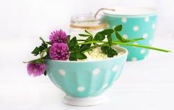 Het verse organische met de hand gemaakte kaas hangen in kaasdoek en uitstekende plaat Stock Foto
