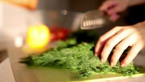 Het verse organische scherpe mes van de peterseliedille aan boord Macro met ondiepe dof stock video