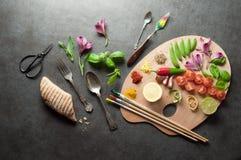 Het verse palet van het kruidenvoedsel stock afbeeldingen