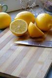 Het verse portret van citroenplakken wijd Royalty-vrije Stock Foto