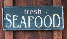 Het verse teken van het Zeevruchtenrestaurant Stock Fotografie