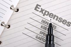 Het verslag van uitgaven en zwarte pen Stock Afbeeldingen