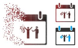 Het verspreide Pictogram van de de Kalenderdag van de Pixel Halftone Arrestatie royalty-vrije illustratie
