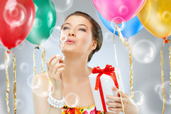Het verstandballons van het meisje Royalty-vrije Stock Foto's