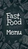Het verticale menu van het affiche snelle voedsel Vector witte gravure op zwarte Royalty-vrije Stock Afbeeldingen