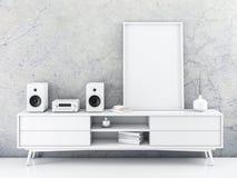 Het verticale Model van de canvasaffiche met kader die zich op dienst bevinden vector illustratie