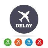 Het vertraagde pictogram van het vluchtteken Het symbool van de luchthavenvertraging stock illustratie