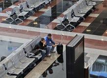 Het vertrekzitkamer Ankara Esenboga Turkije van de luchthaven Stock Afbeeldingen