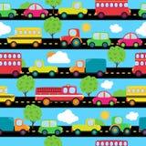 Het vervoer als thema had Naadloos Tileable-Patroon Als achtergrond Stock Foto's