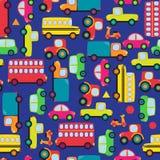 Het vervoer als thema had Naadloos Tileable-Patroon Als achtergrond Royalty-vrije Stock Foto