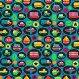 Het vervoer als thema had Naadloos Tileable-Patroon Als achtergrond Stock Afbeeldingen