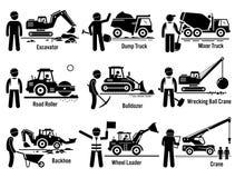 Het Vervoer en Arbeider Vastgestelde Clipart van bouwvoertuigen Royalty-vrije Stock Foto's