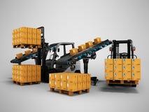 Het vervoer en het leegmaken van goederen door 3d forklifts geven op grijze achtergrond met schaduw terug stock illustratie
