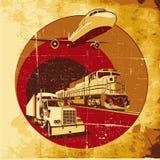 Het vervoer van de lading grunge vector illustratie