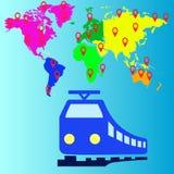 Het vervoer van de reistrein, vectorenpictogrammen Stock Afbeeldingen