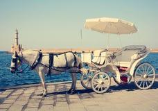 Het vervoer van het paard in Chania Stock Foto