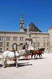 Het vervoer van het paard in Salzburg stock afbeeldingen